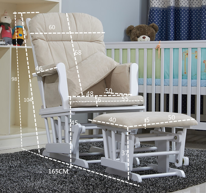 Nursery Rocker and Gliders Ottoman Wood Rocking Chair With Padded ...