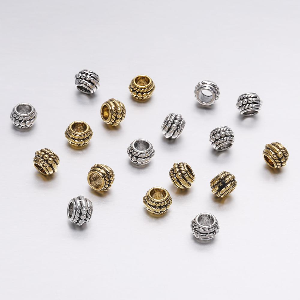 30pcs/lot 8mm Antique Silver Gold Vintage Loose Spacer Beads For Jewelry Making DIY Charm Bracelet Findings Supplies Accessories