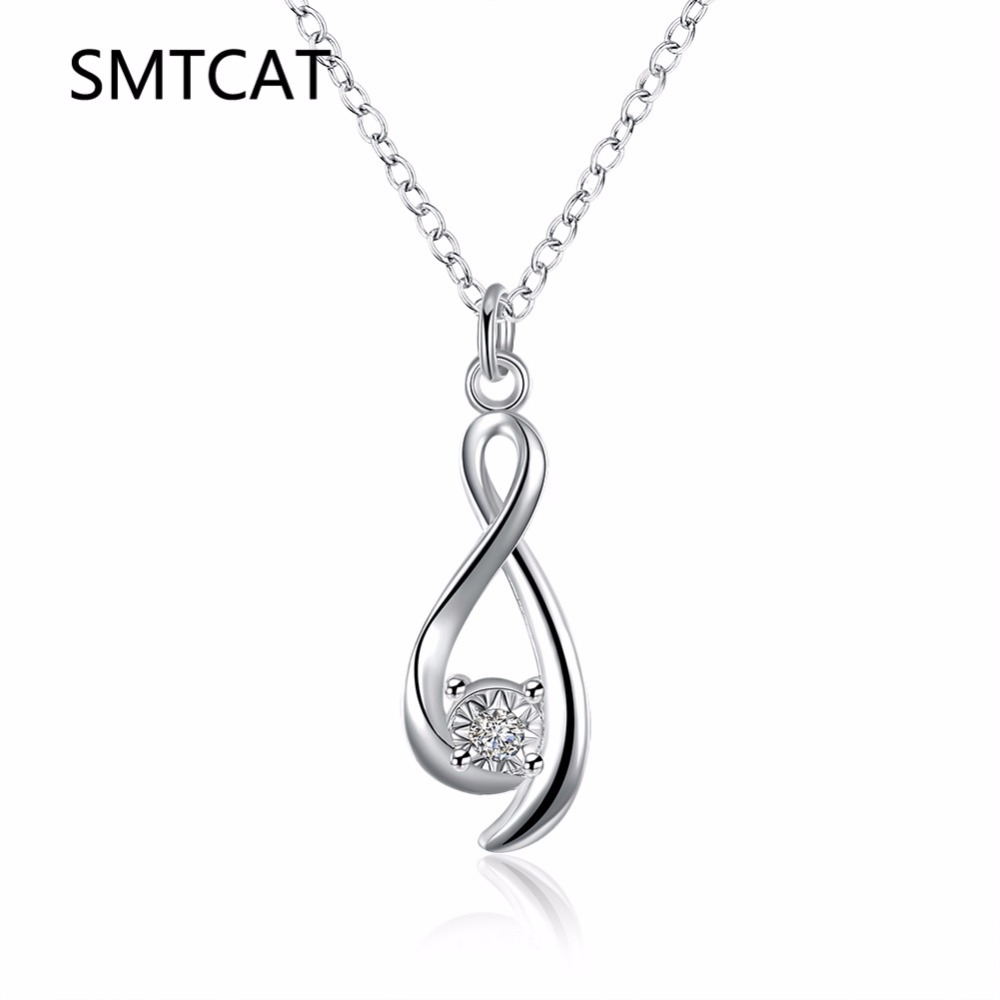 SMTCAT Wholesale 2017 new silver Infinity necklaces pendant Crystal twisted 8 collares women necklace jewerly accessories