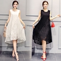 5xl mujeres de talla grande ropa dress 2017 primavera verano coreano negro blanco lindo sweet chaleco sin mangas floja dress femenina a2803