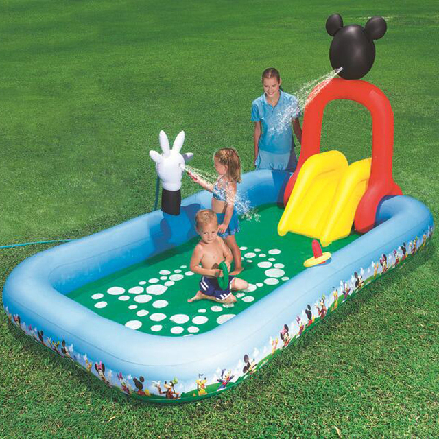 B b grande piscine gonflable avec toboggan gonflable for Toboggan gonflable piscine