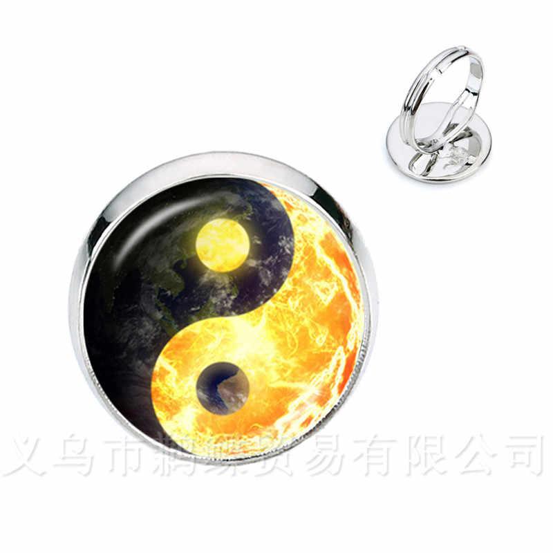 Yin Yang แก้วแหวนผู้หญิงเครื่องประดับหญิงเงิน/ทองชุบ 2 สีแหวนธรรมชาติ Rustic Boho สไตล์สัญลักษณ์ Harmony ของขวัญ