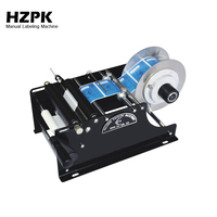 HZPK Free Shipping Portable Manual Labeling Machine Small Sticker Labeling Machine Jar Can Plastic Bottle Labeler Roll Tag Maker