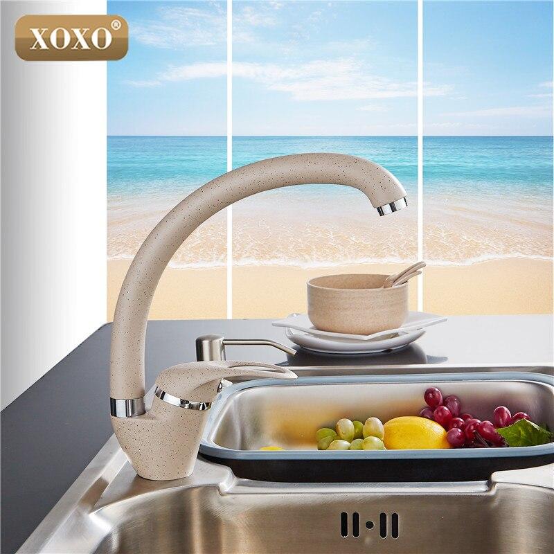 XOXO Style Moderne Maison multicolore Cuivre Robinet de Cuisine D'eau Froide et D'eau Chaude Robinet Simple Poignée Noir Blanc Kaki 3309BE - 2