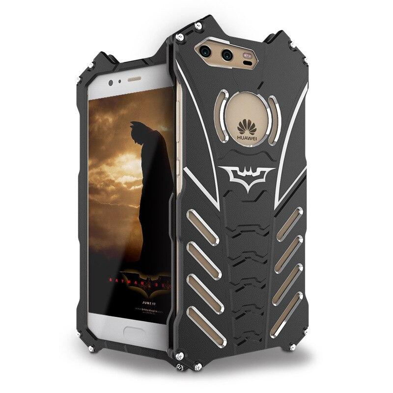 For Huawei P9 Plus P10 Plus P10 Lite Case Armor Heavy Dust Metal Aluminum CNC BATMAN Protect Skeleton Head Phone Case + Bracket