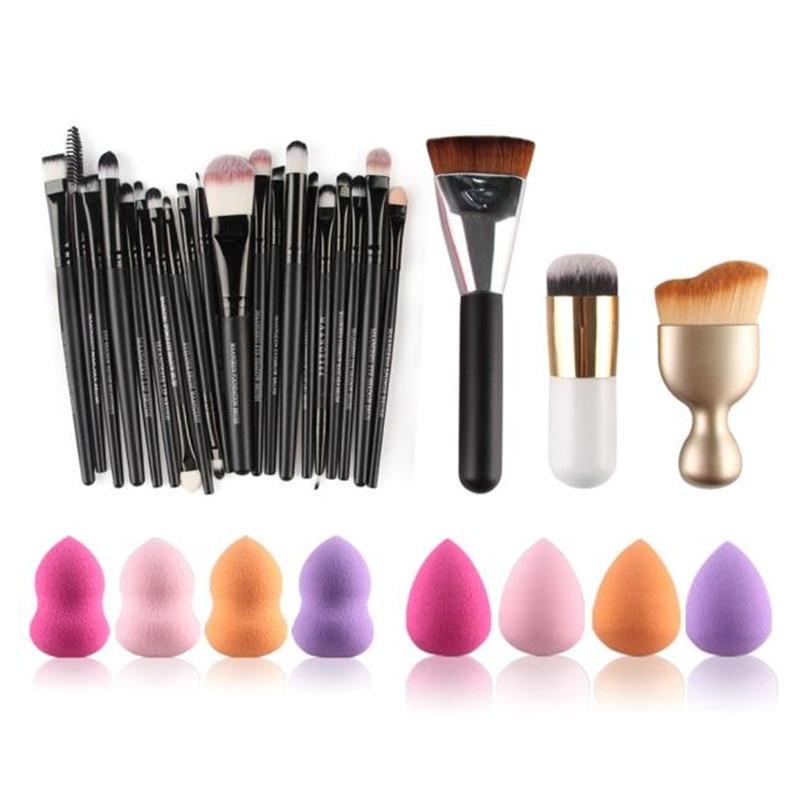 professional Cosmetics sets 20PC makeup brushes +8PC sponge Puff+1PC Contour Brush+1PC Powder Foundation make up brush bob cosmetic makeup powder w puff mirror ivory white 02