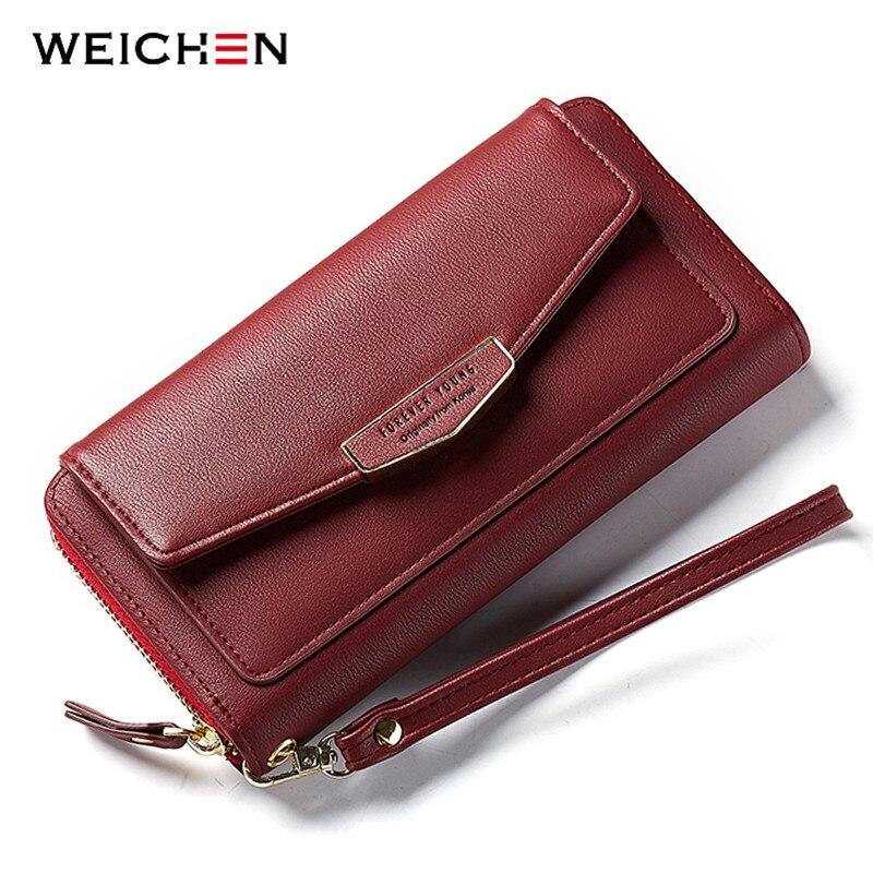 WEICHEN Large Capacity Women Wallets &Clutch Soft Leather Ladies Handbag Wristband Female Wallets Phone Pocket Card Wallet Purse