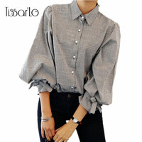 TissarLG Women Shirt 2017 New Fashion Striped Lantern Sleeve Turn Down Collar Bow Long Sleeve Blouse