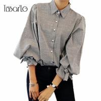 TissarLG Women Shirt 2017 New Fashion Striped Lantern Sleeve Turn Down Collar Bow Long Sleeve Blouse
