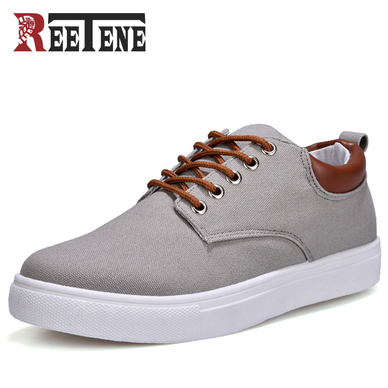 REETENE New Arrival Spring Summer Comfortable Casual Shoes Mens Canvas Shoes For Men Lace-Up Brand Fashion Flat Loafers Shoe men casual shoes mens shoes summer walking canvas shoes black pu basket zapatillas deportivas men brand canvas espadrilles