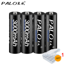PALO AA Battery Cell 1.2V NI-MH Rechargeable Batteries Bateria 2500mAh 6Pcs 2A For Camera Free Shipping&<