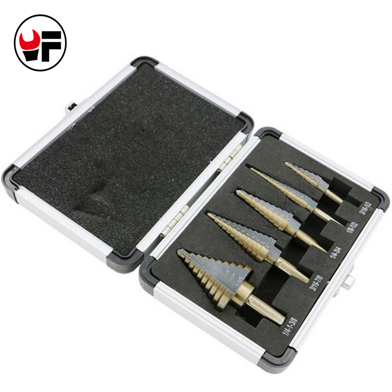 5pcs / Set HSS Cobalt Multiple HOLE 50 Sizes STEP DRILL BIT SET Metal Corn Drill Cutter Drill Bit Set Tool with Al Case  DZ129 5pcs step drill bit set hss cobalt multiple hole 50 sizes sae step drills 1 4 1 3 8 3 16 7 8 1 4 3 4 1 8 1 2 3 16 1 2 drill bits