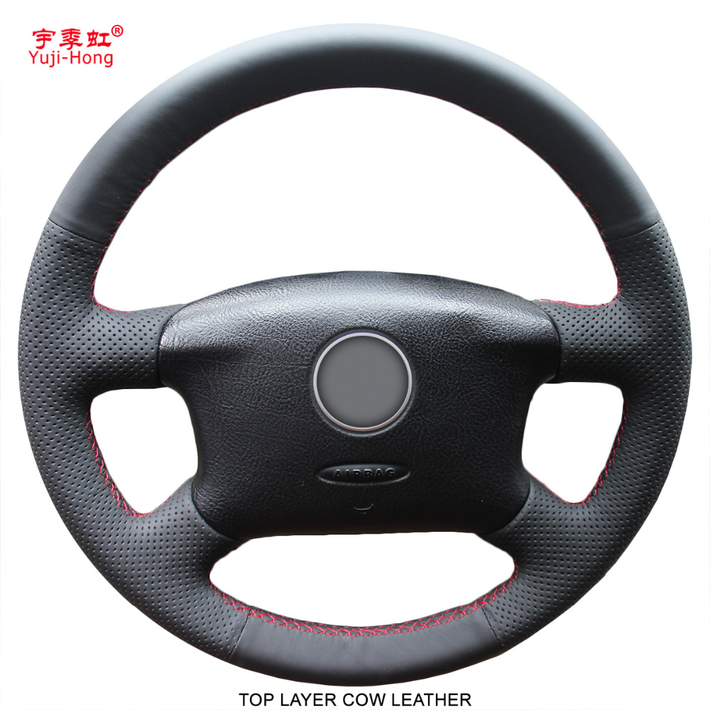 Yuji Hong Real Leather Car Steering Wheel Covers Case for Volkswagen VW Passat B5 Genuine Cow