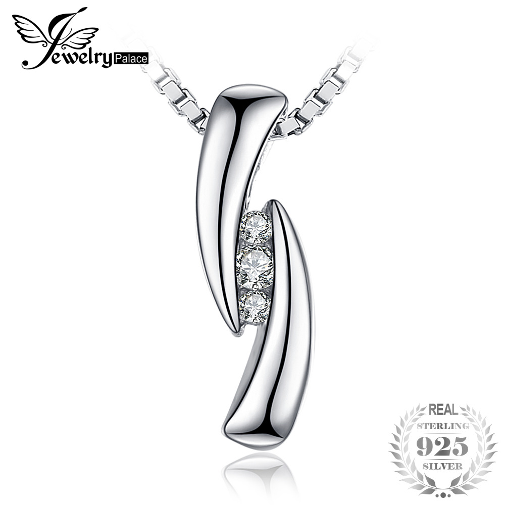 JewelryPalace 0.03ct Cubic Zirconia 3 stones Pendant Real 925 Sterling Silver Fashion Jewelry For Women Not Include A Chain