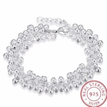 099c4673adb5 LEKANI de las mujeres joyería fina de Plata de Ley 925 19 cm cadenas arena  cuentas de luz UVA encantos pulsera brazalete pulseras modernas de prata