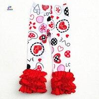 AICTON Custom Fashion Kids Clothing Baby Icing Pants With Love Heart Printed Flower Girl Ruffle Leggings