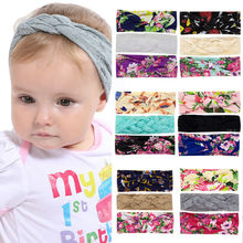 2019 New Cute 3pcs Elastic Newborn Baby Kids Girls Headband Toddler Lace Bow Cotton Print Floral Hair Band Bow-knot Accessories 2019 brand new 3pcs stretchy twist knot bow head wrap headband twisted knotted cute hair band baby gifts