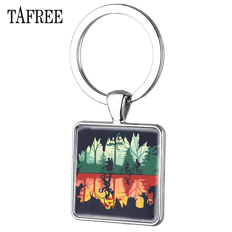 TAFREE Art Picture Glass Cabochon Dome Square Keychain Stranger Things Keychain Women Keychian  Trousseau Jewelry QF130