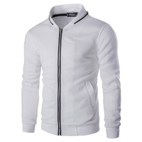 Mens Causal Sweatshirt Fashion 2016 New Baseball Jacket Zip Collar Zipper Decoration Hoodies Men Slim Fit