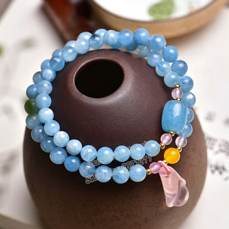 Wholesale Blue Natural Crystal Bracelets 6mm beads With Pink Magnolia Flower Pendant Crystal Bracelet for Women Fresh Jewelry fresh beads rhinestone flower bracelet for women