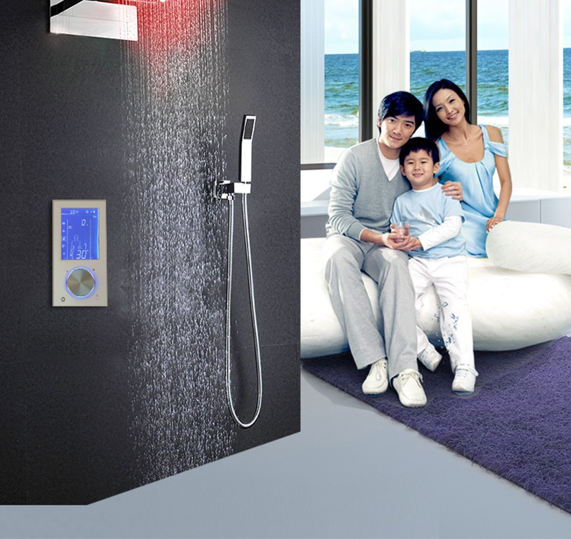 Digital Thermostat Waterfall Shower Controller Touch Control Panel Large SUS304 Rainfall Massage Bathroom Celling  (4)