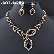 27fadda5a2f7 Jiayijiaduo conjuntos de joyas de cuentas africanas collar de boda de  cristal negro conjunto de accesorios de ropa para mujer co.