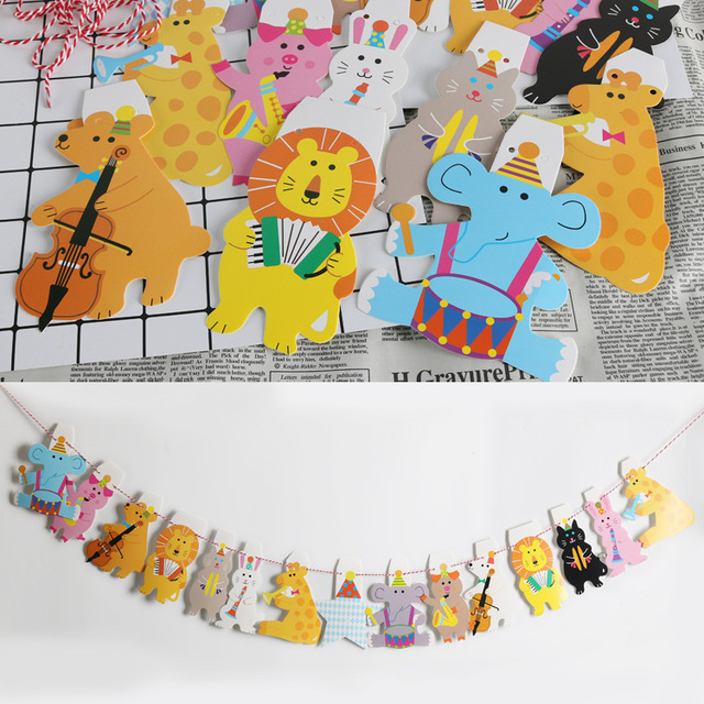 1 Set Happy Birthday Paper Animal Flags Bunting Banners Kids Party Decorations Kindergarten Classroom Decoration
