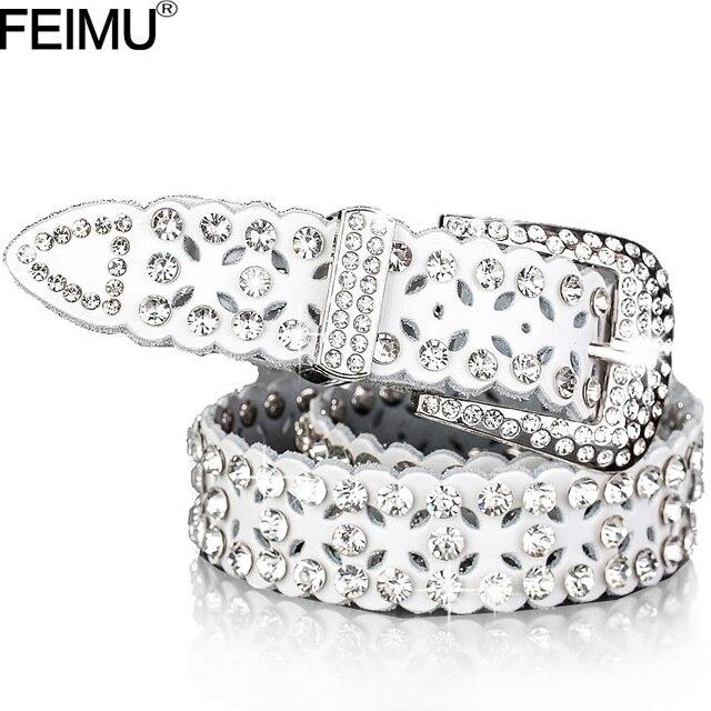 2017 Fashion Luxury Crystal Rhinestones belts women High quality Cow skin strap female Genuine leather belt Wedding party PF01