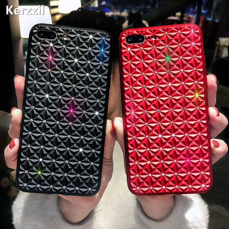 Kerzzil Glitter Stars Silicone Phone Case For iPhone 7 8 Plus Diamond  Pattern Cases For iPhone X 8 7 6 6S Plus Soft Cover 03d7bde12a28