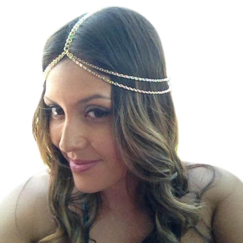 Купить женская повязка на голову zuowen золотистая/серебристая цепочка
