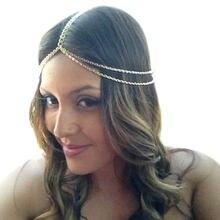 Женская повязка на голову zuowen золотистая/Серебристая цепочка