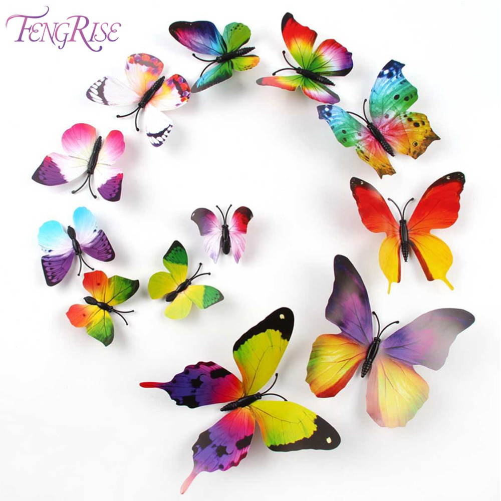 product FENGRISE PVC Magnet 3D Butterfly Wall Sticker Decals Home Decor Poster For Kids Rooms Adhesive Wall Art Stickers Fridge Decor
