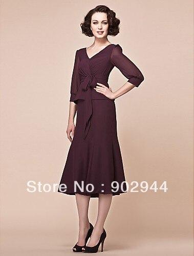 Aliexpress.com : Buy A line V neck chiffon casual tea length ...