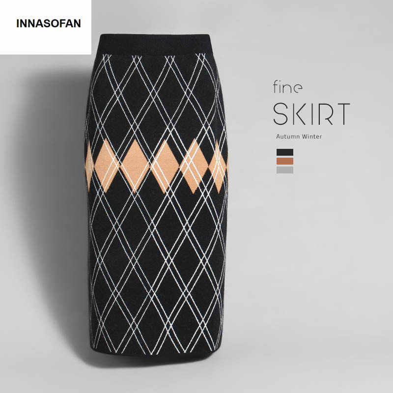INNASOFAN warm knitted skirt Women's Autumn-winter geometric skirt high waist Fashionable high-end chic skirt