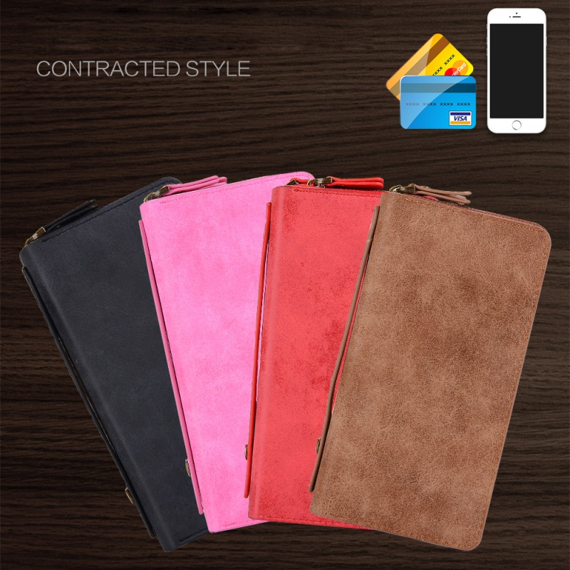 product for iPhone 6s 4.7-inch Case POLA PU Leather Zippered Wallet Phone Cases Cover Bag Shell for iPhone 6s 6 with Earphone Hole - Red