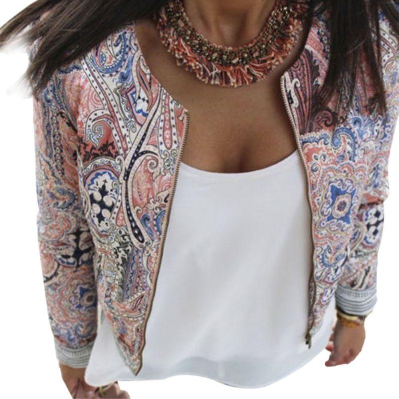 Fashion Autumn Women Ladies Casual Slim Floral Suit Vintage Blazer Jacket Coat Outwear 004
