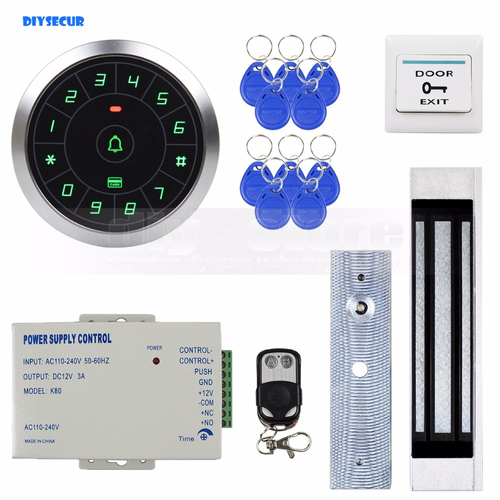 DIYSECUR 125KHz RFID Reader Password Keypad + 180kg Magnetic Lock + Remote Control Door Access Control Security System Kit diysecur 125khz rfid reader password keypad access control system security kit 280kg magnetic lock door lock exit button