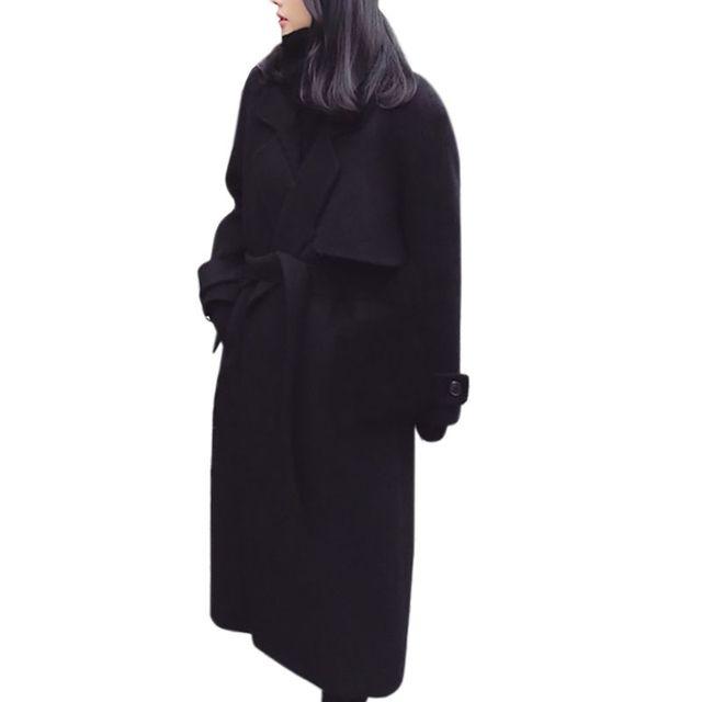 Mode solide noir à manches longues ceintures revers Double face laine Outwear femmes automne hiver chaud veste tempérament manteau femme