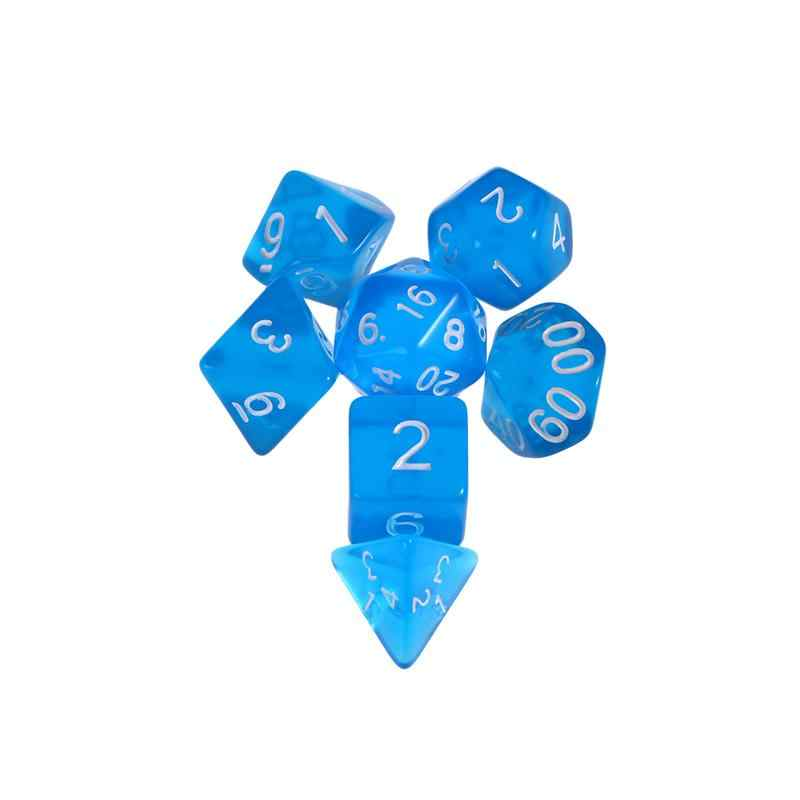 7 Uds Digital dados poliédricos acrílico Semi-transparente número juego de dados de calabozos y dragones RPG MTG de juego