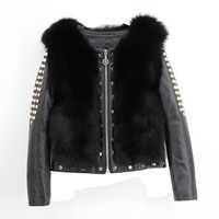 Genuine Sheepskin Coat Women'S Real Fox Fur Coat Raccoon Fur Leather Jackets Full Sleeve Russian Winter Overcoats Cloth Outwear