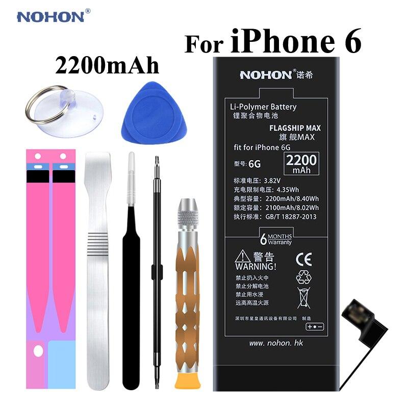 NOHON D'origine Mobile Batterie pour Apple iPhone 6 6G Pour iPhone6 Haute Capacité 2200 mAh avec Outils De Réparation Kit et Batterie autocollant
