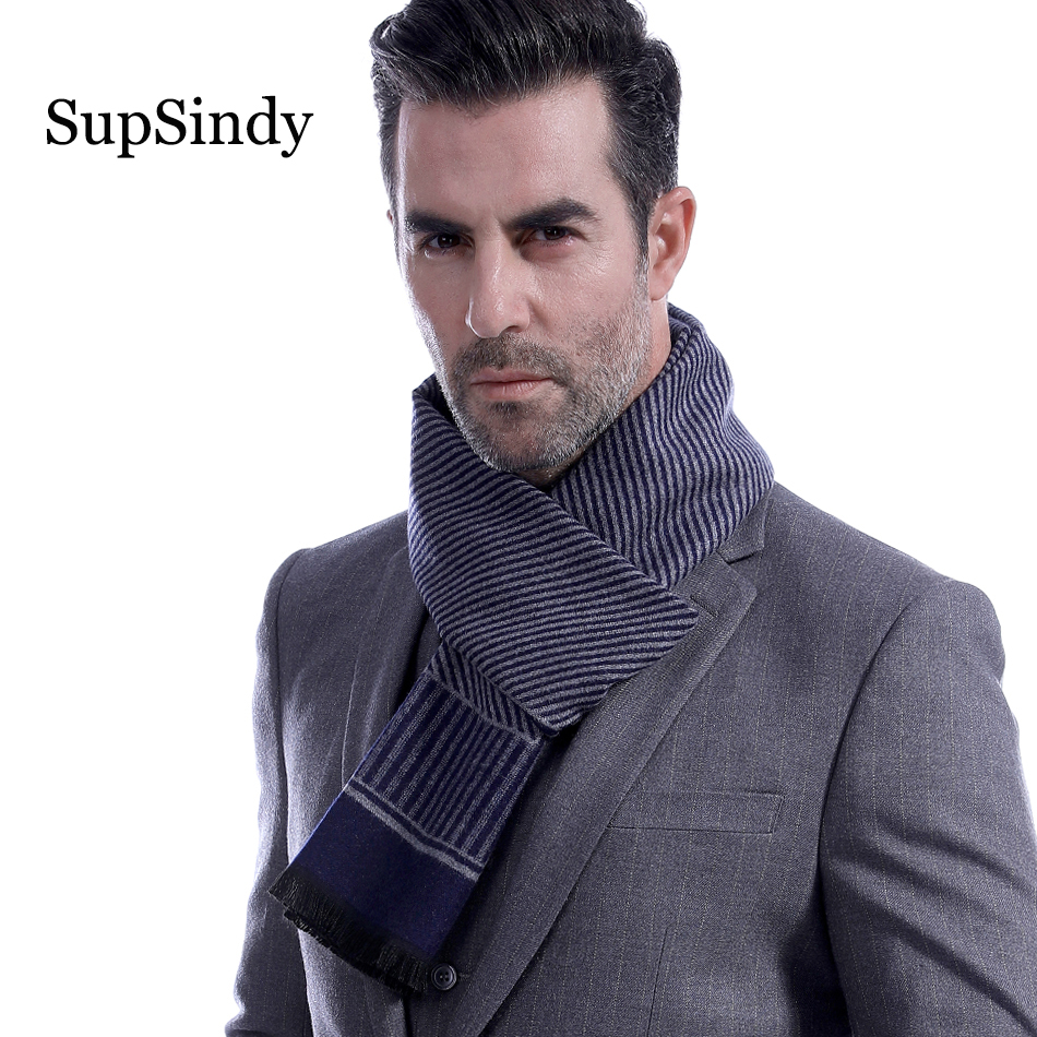 SupSindy Winter Scarf Men Vintage Soft Blue Stripe Scarves Luxury Shawl Warm Wrap Imitation Cashmere Business Casual Men's Scarf