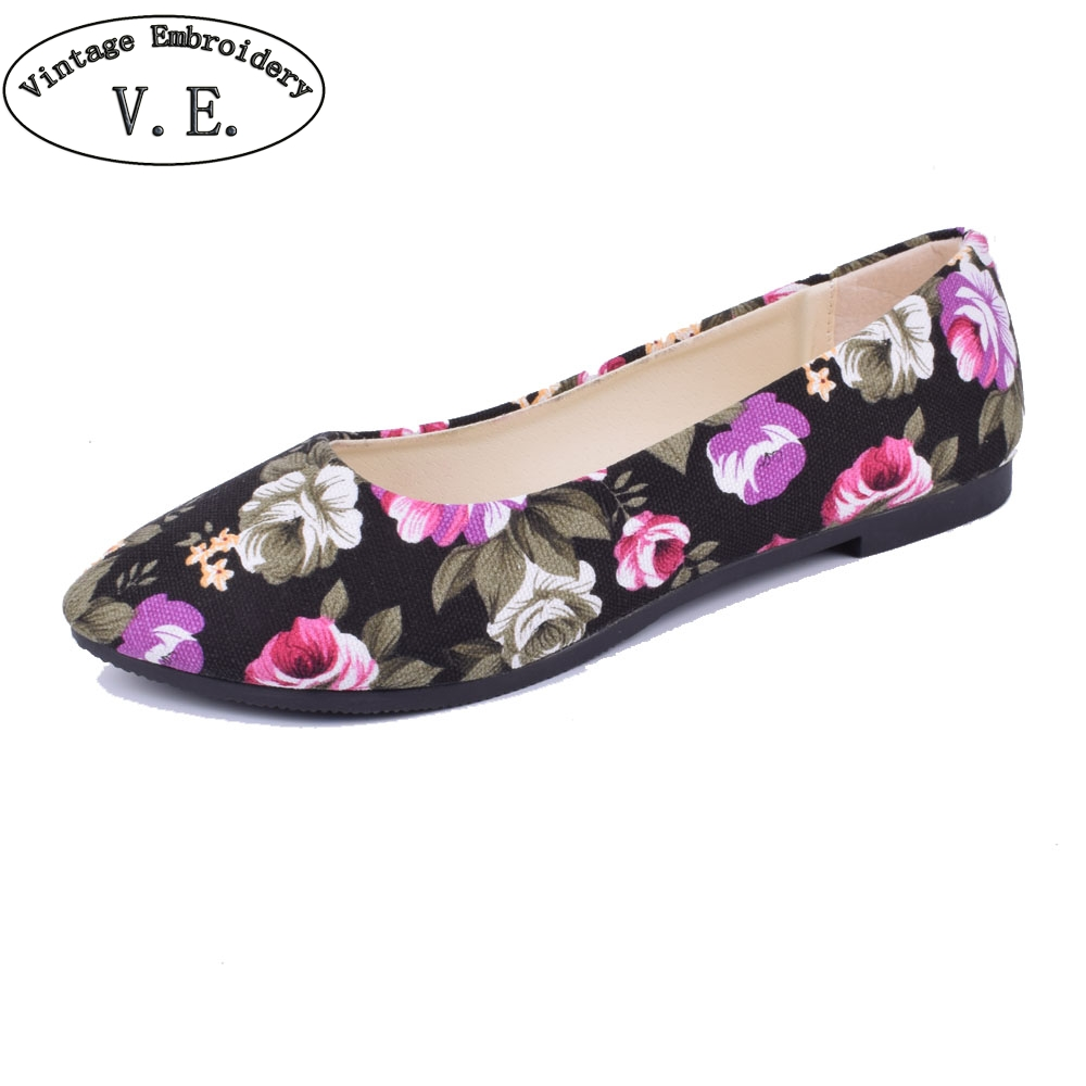 New Spring Summer Shoes Woman Flower Print Flats Womens Loafers Ladies Shoes Zapatos Mujer Plus Size 42 Tenis Feminino