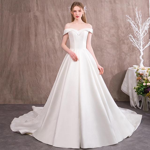 567813a5401aa US $140.0 |Vivian's Bridal 2018 Fashion Off Shoulder Satin Wedding Dress  Fantasy Princess Court Train Customized Long Elegant Bridal Dress-in  Wedding ...