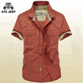 Original Brand AFS Jeep Mens shirts 2017 Short sleeve Top quality 100% cotton Plus Size Loose men's shirt Summer Style Military