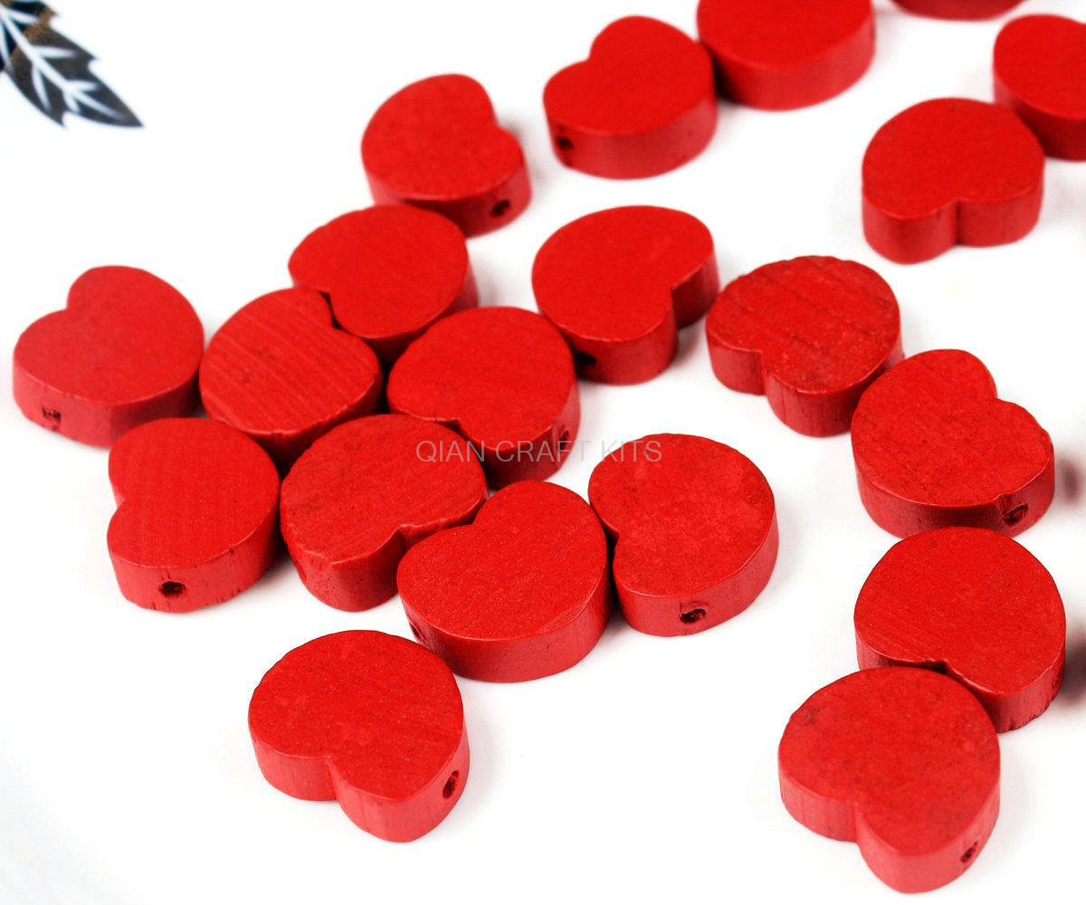 Jewelry & Accessories Wedding & Engagement Jewelry Wood Craft Diy Holiday Decoration Love Or Red Wooden Beads 250pcs Red Color Wood Heart Shapes,17x15mm Side Drilled Holes