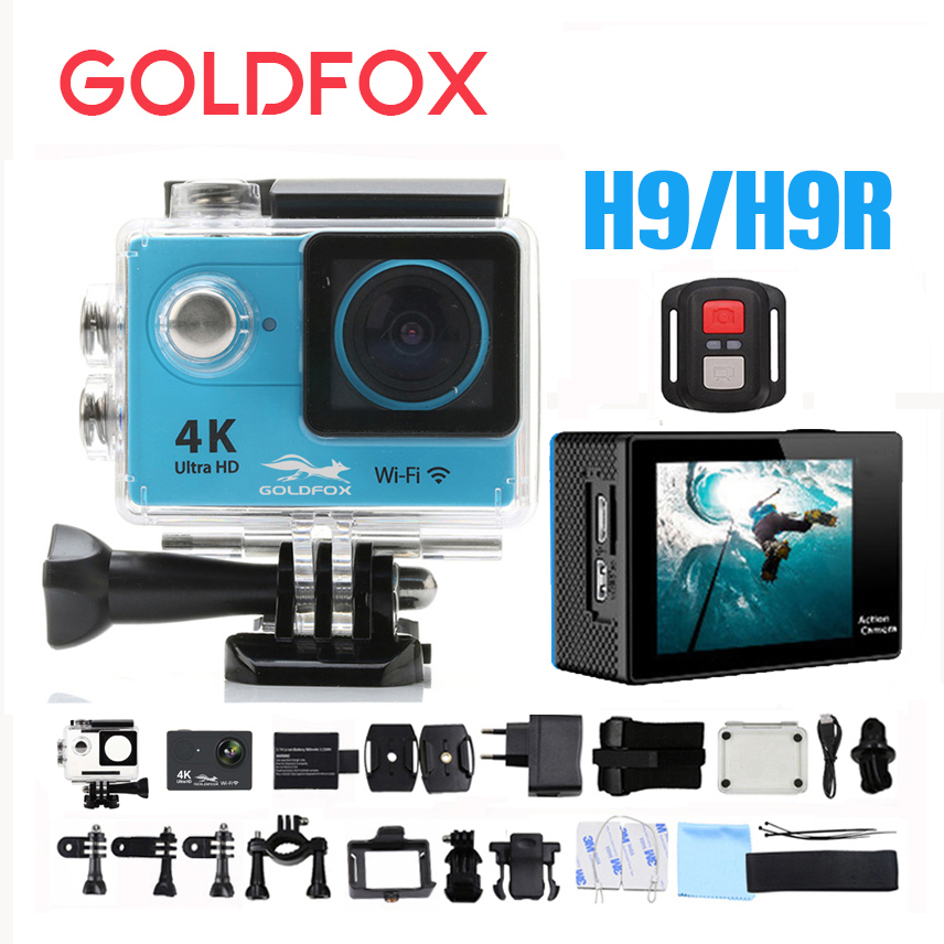 GOLDFOX H9 Action camera H9R Ultra HD 4K WiFi Sport Dv 1080P Full HD Video Camera 30M Go Waterproof Pro Action Bike Helmet Cam f88 action camera black