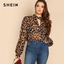 23032c4981ee27 SHEIN Plus Size Cut Out V Neck Sexy Semi Sheer Leopard Print Blouses Women  2019 Spring Long Lantern Sleeve Thin Top Blouse