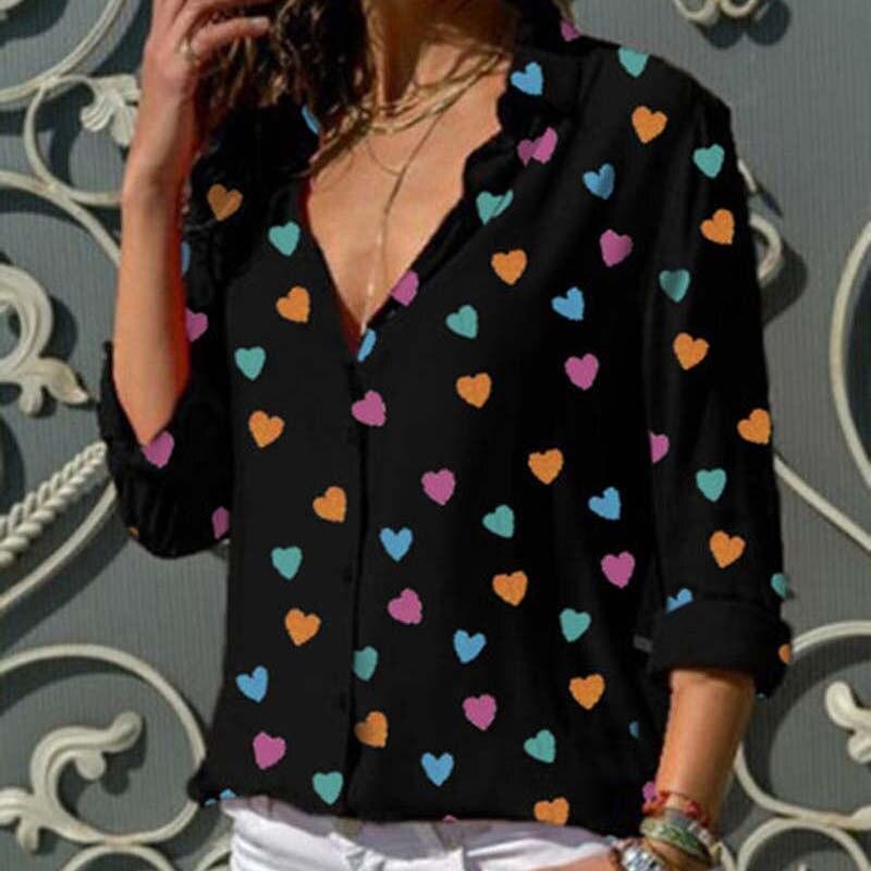Blouse     Shirt   Women Heart Print Long Sleeve Womens Tops and   Blouses   Turn-down Collars Women   Shirts   Fashion Woman   Blouses   2019