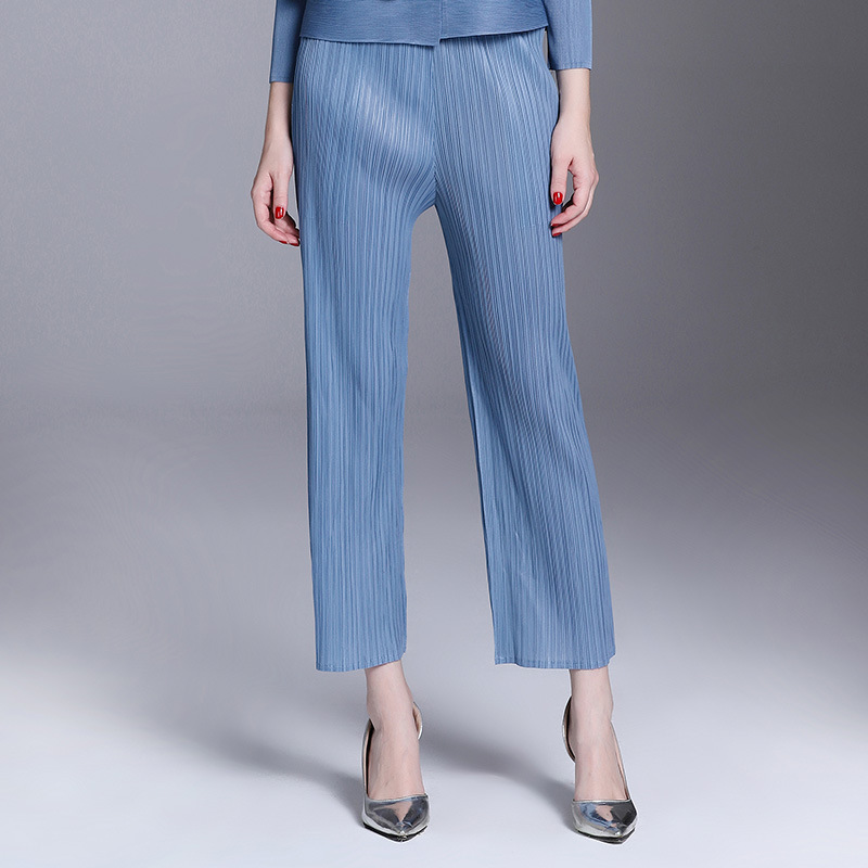 Color grey Casual Suelto Mujeres Alta Señora Otoño Gama Pantalones blue Plisado Black Elstic Oficina Sólido FqExnUwC